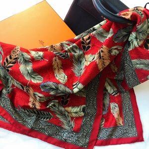Vintage Hermes silk scarf in red